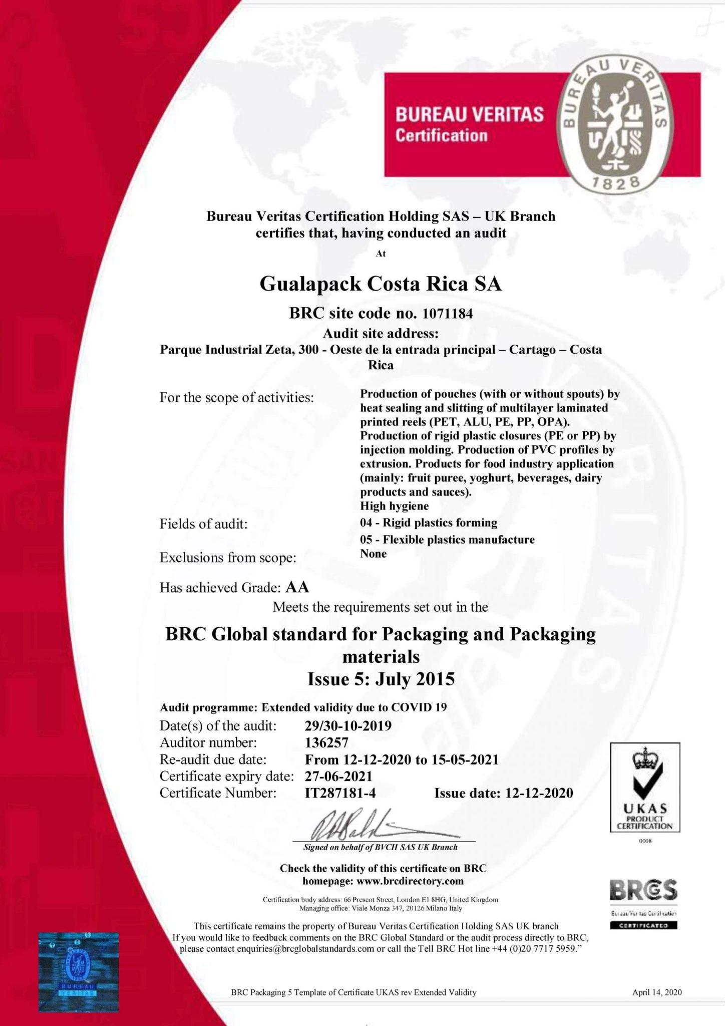 GUALAPACK COSTA RICA SA-BRC Extensión 2020