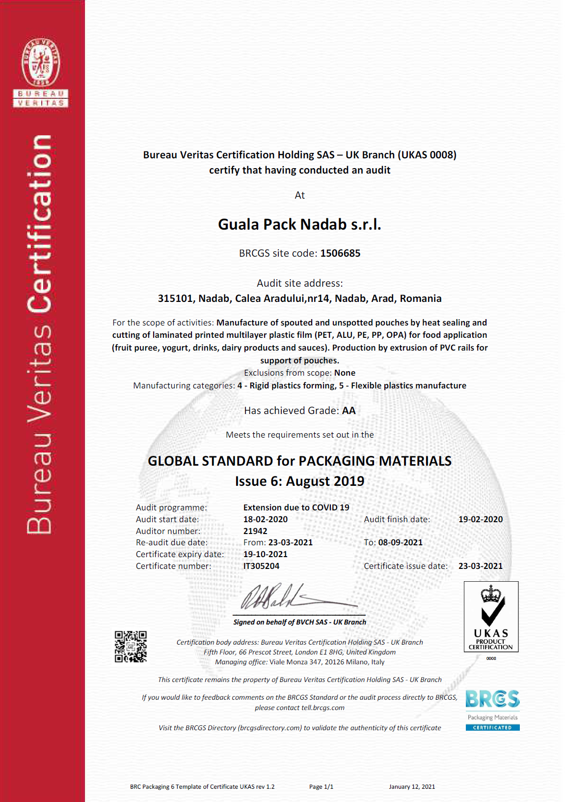GUALA PACK NADAB SRL_RISK ASSESSMENT CERTIFICATE_2021_BV BACKGROUND